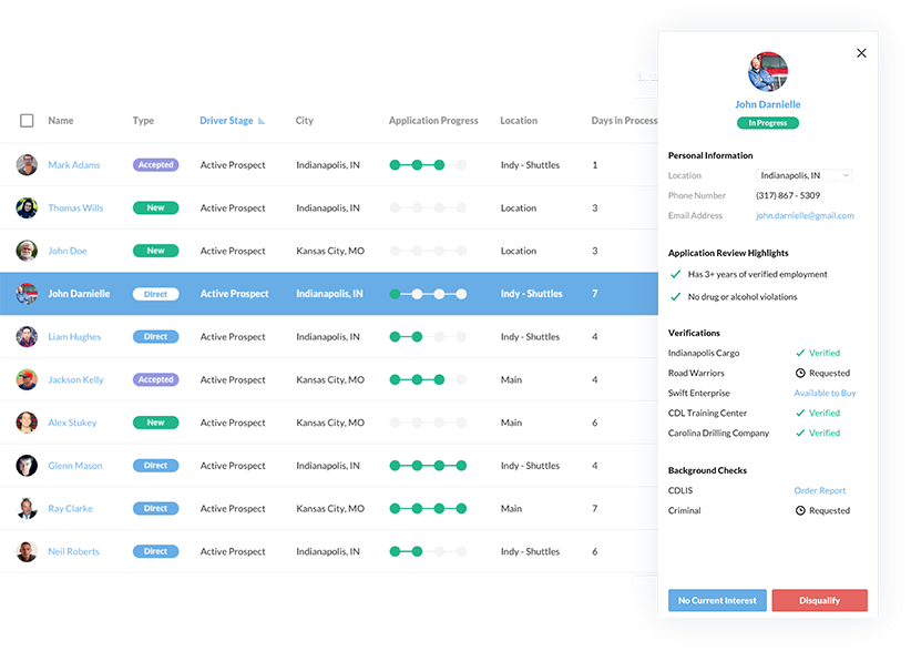 DriverReach Software - Applicant Management